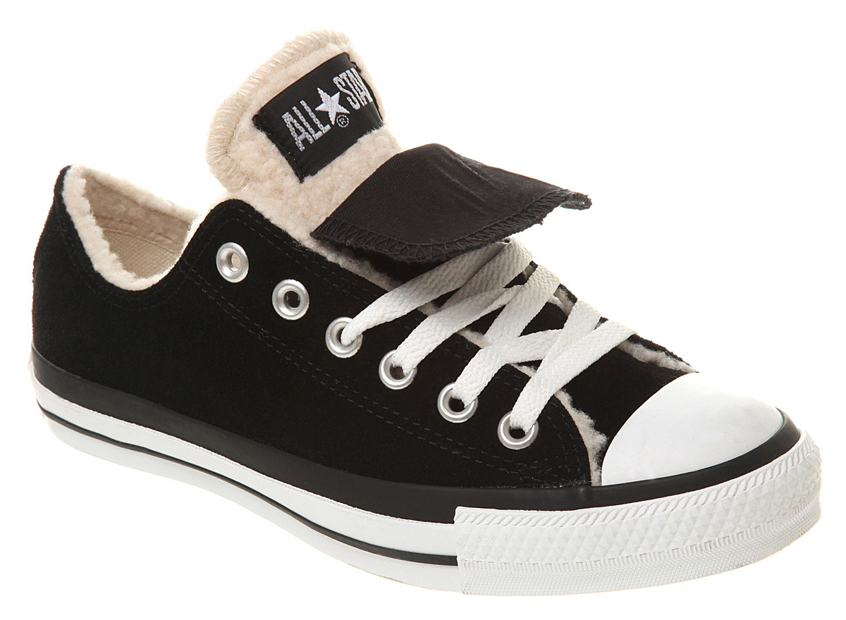 2c96ceb87 Converse All Star Ox Low Double Tongue Black White Sheepskin ...