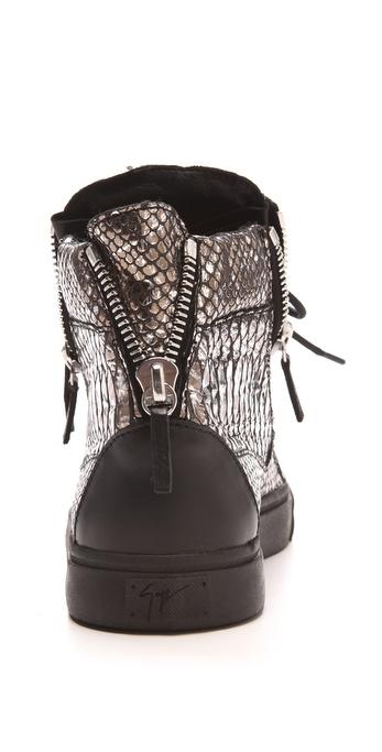giuseppe zanotti metallic snake embossed sneakers