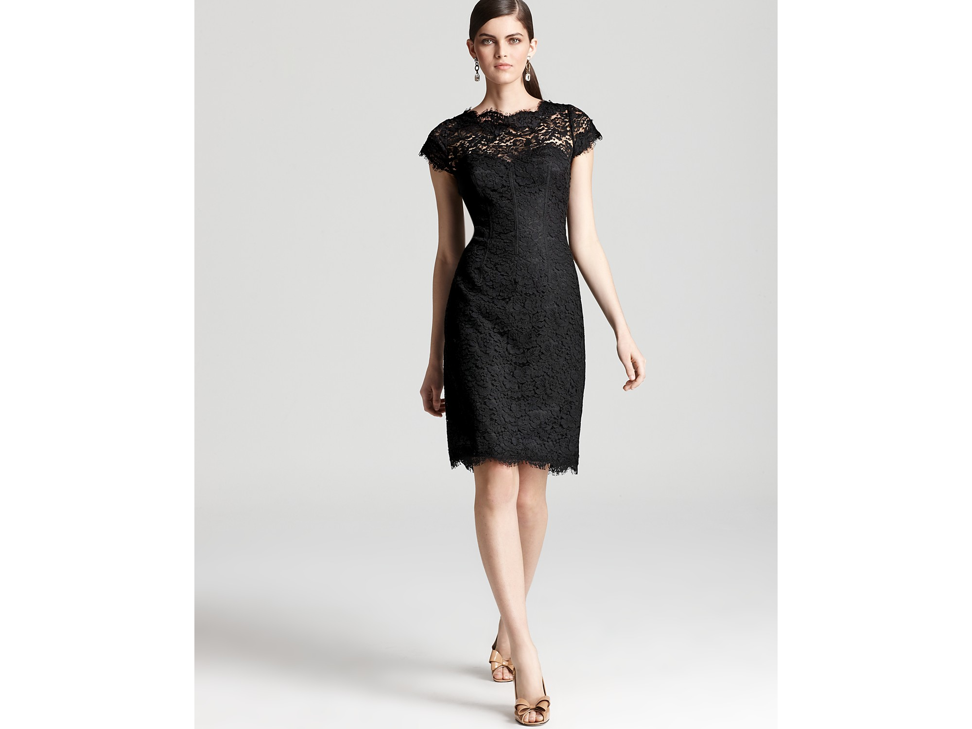 Black Cap Sleeve Lace Dress