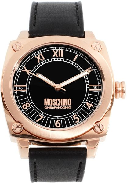 moschino moschino mens black leather in black