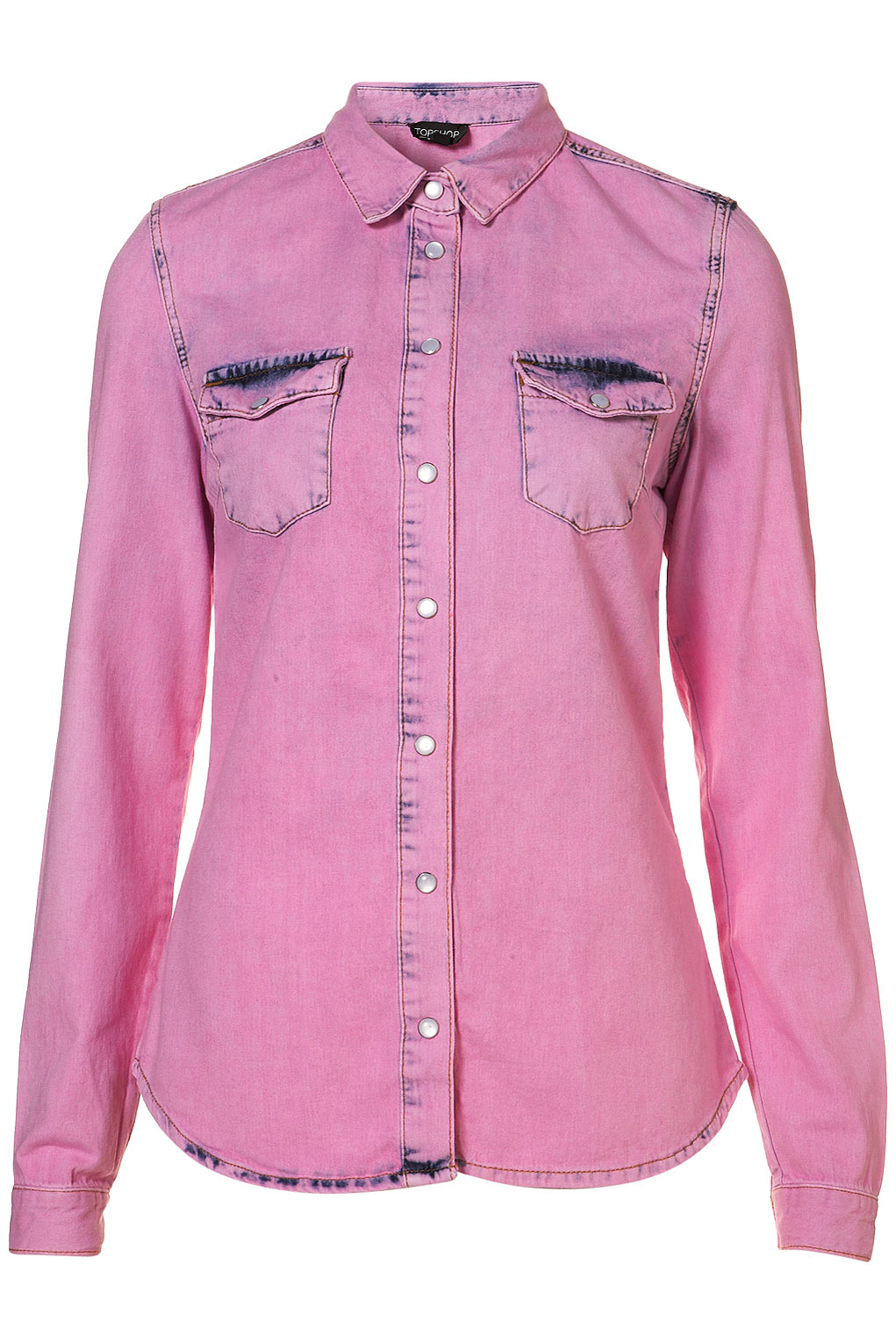 topshop moto overdyed pink denim shirt in pink lyst ForWomens Denim Shirts Topshop