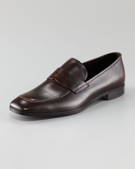 Prada Leather Penny Loafer in Brown for Men (dark brown)