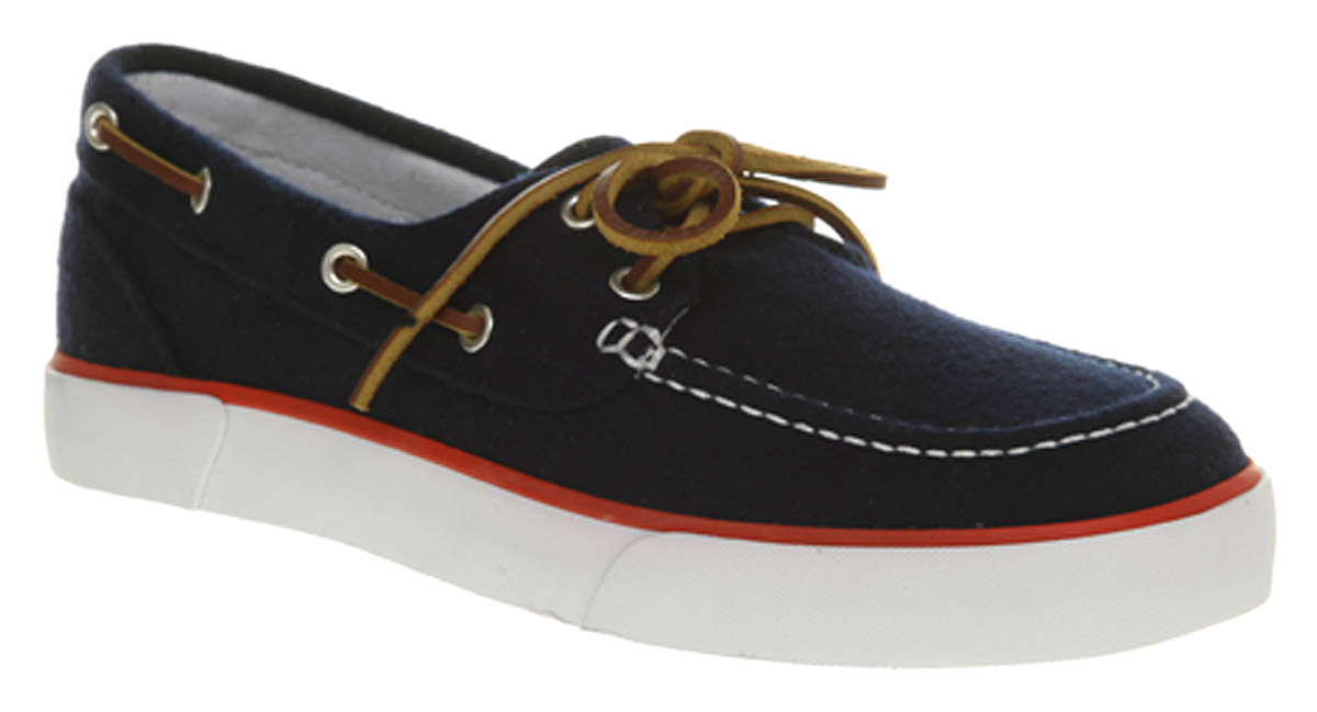 low priced quality products top brands Ralph Lauren Sander Canvas Boat Shoe Navy Flannel in Black for Men ...