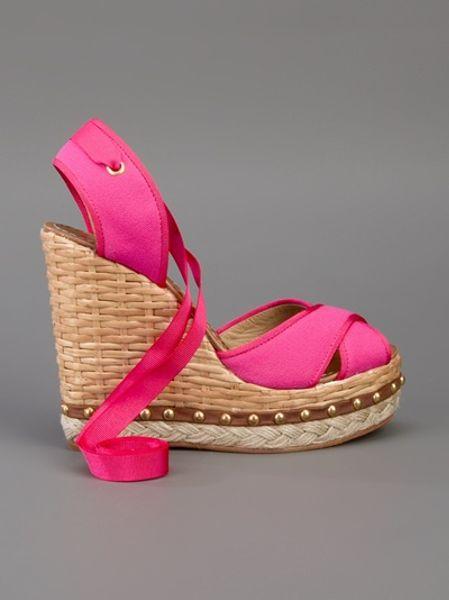 Dolce Amp Gabbana Espadrille Wedges In Pink Lyst