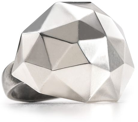 Elizabeth And James  Geodesic Large Dome Ring in Silver