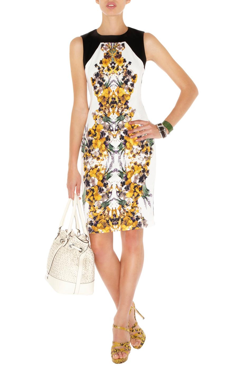 Karen Millen Colourful Painted Floral Cotton Dress In