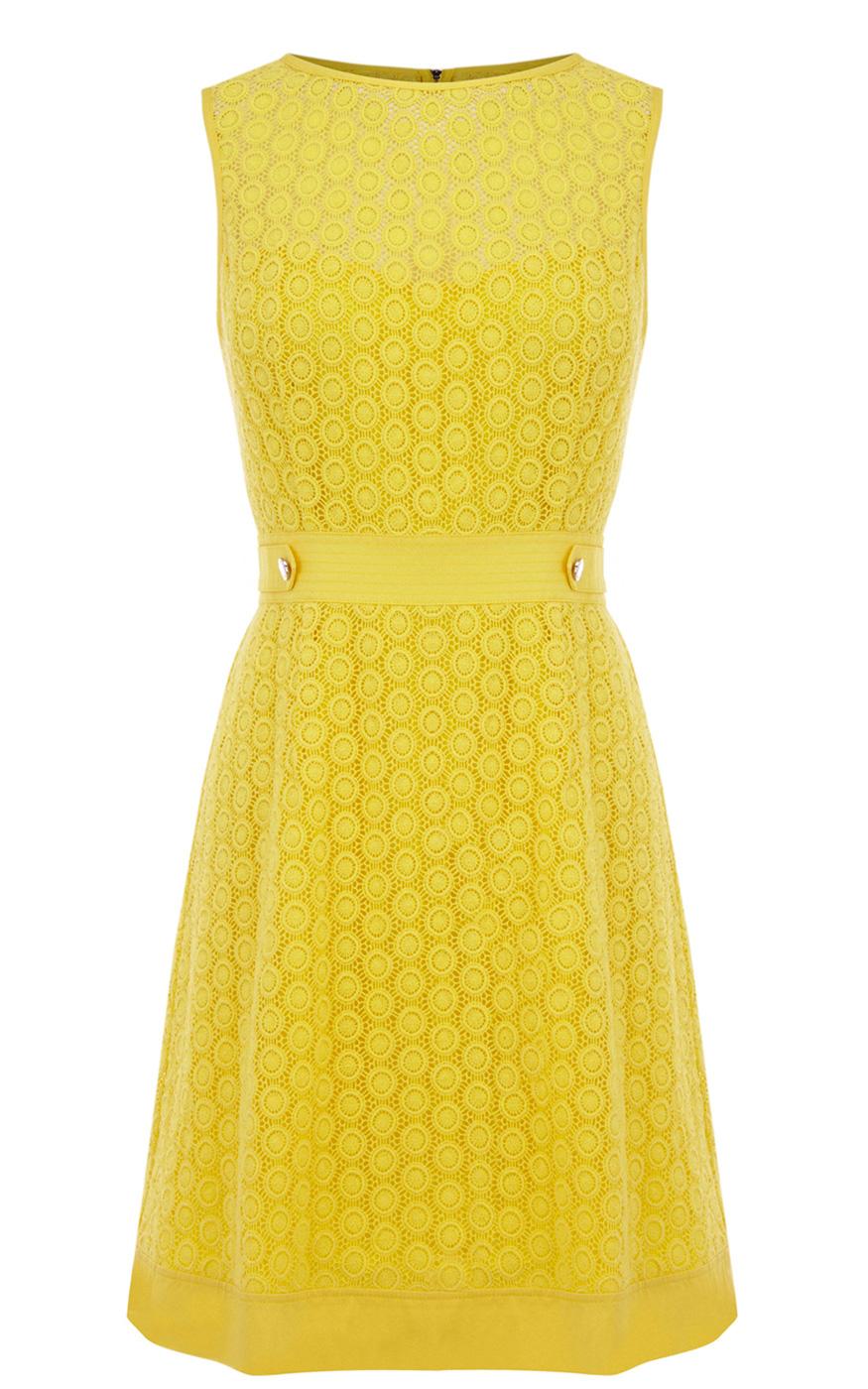 Karen Millen Broderie Dress In Yellow Lyst