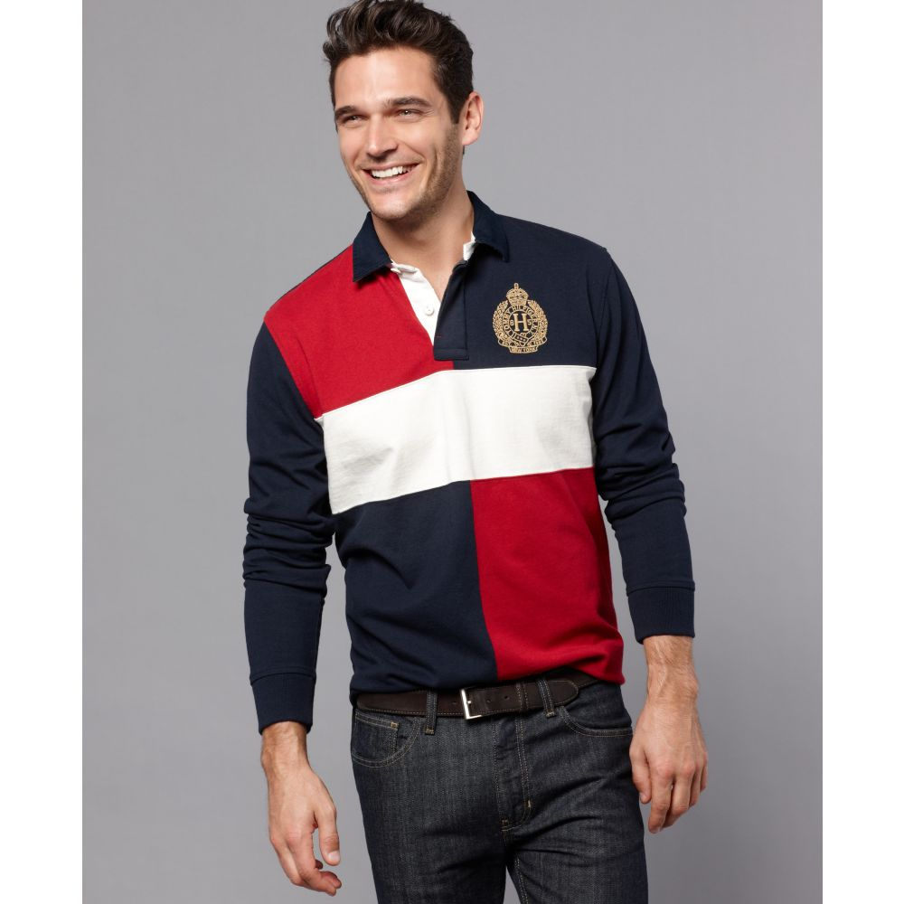 64cb016322c2 Lyst - Tommy Hilfiger Peabody Long Sleeve Rugby Polo Shirt in Red ...