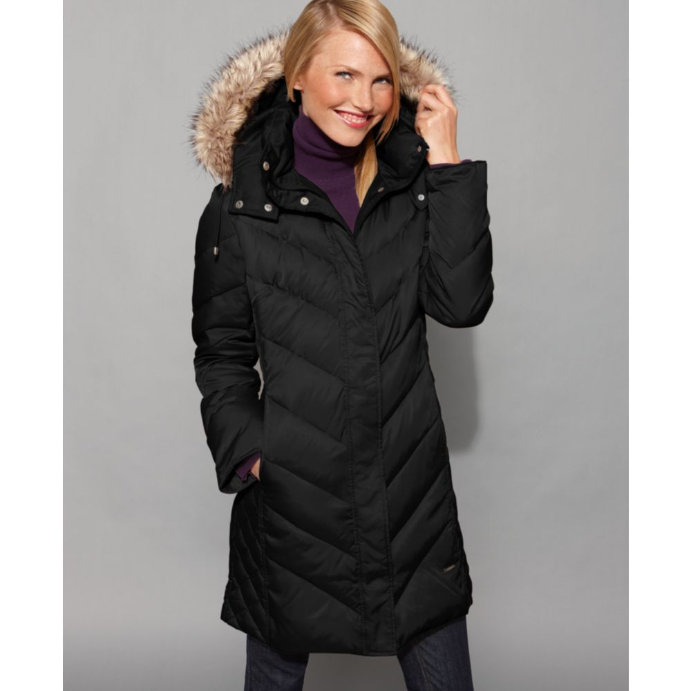 0ba14b026 Kenneth Cole Reaction Black Faux Fur Hood Chevron Down Coat Puffer