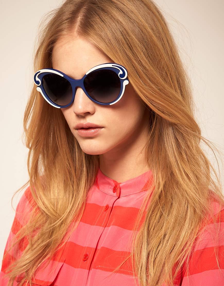 a11046db03c2 Lyst - Prada Minima Baroque Sunglasses in Blue