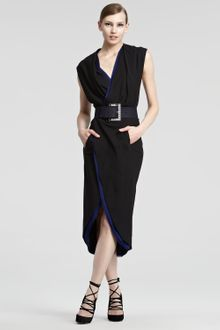 Donna Karan New York Contrast Jersey Wrap Dress - Lyst