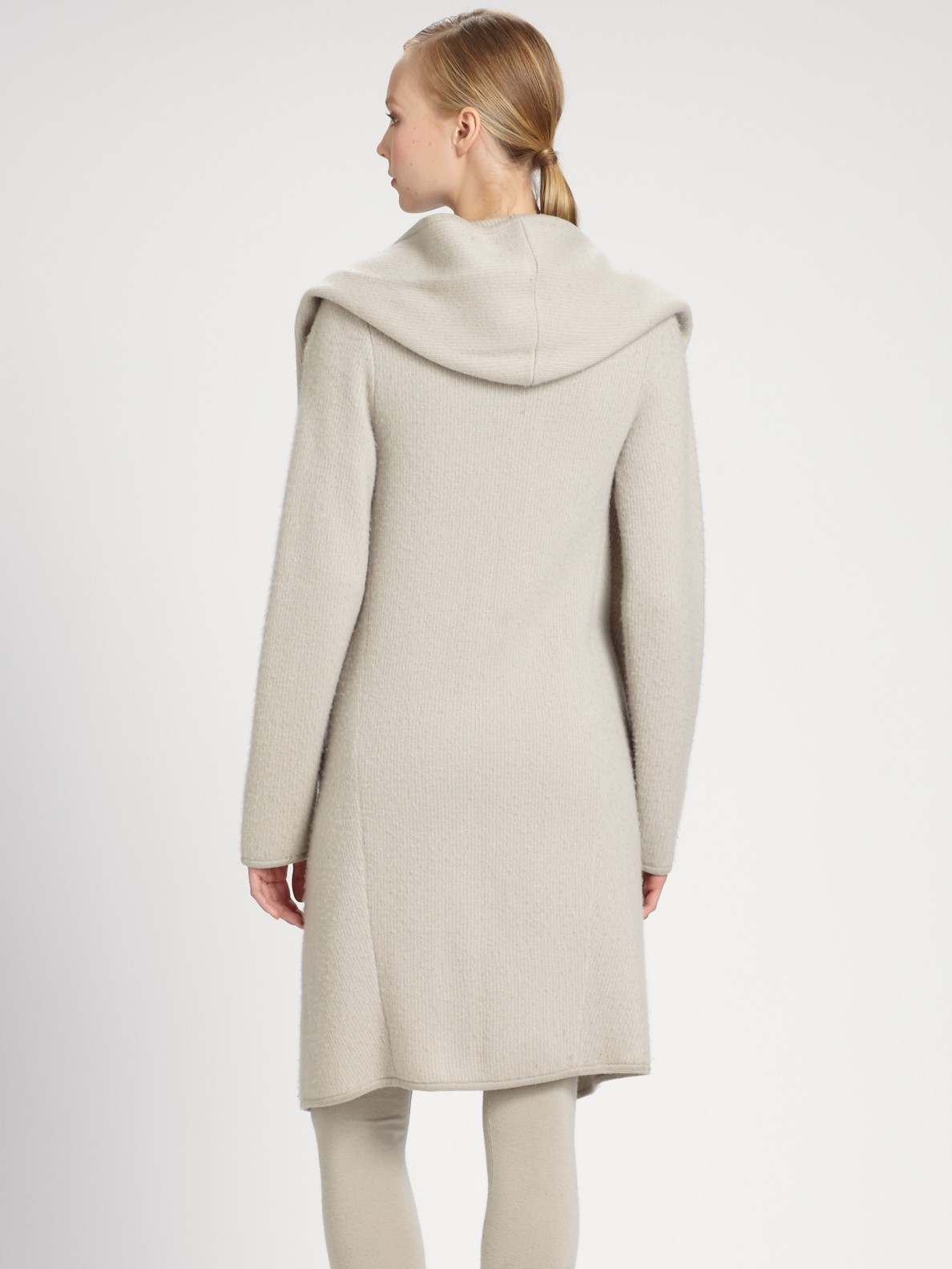 Donna karan Hooded Drapedfront Cashmere Coat in Gray | Lyst