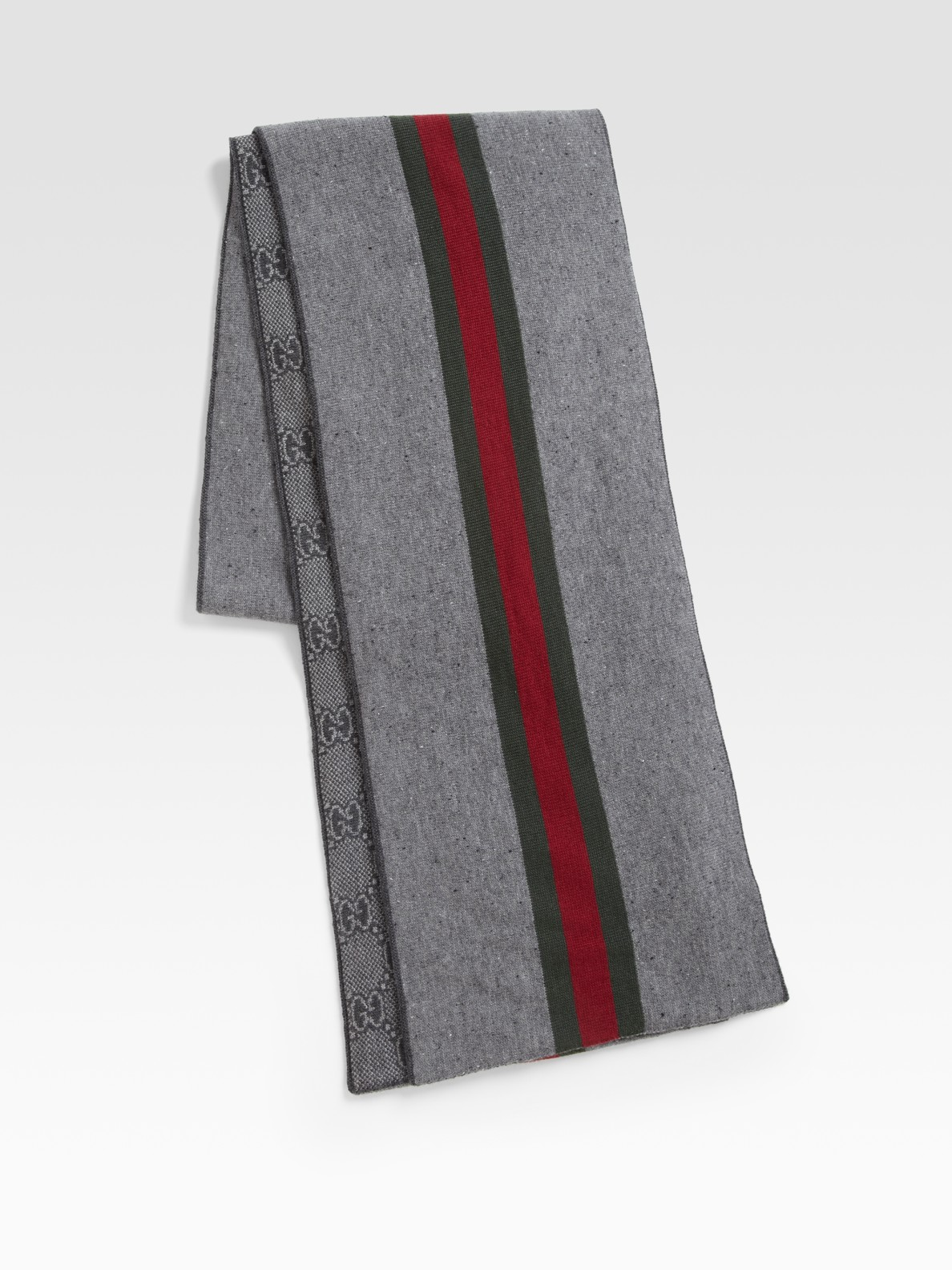 Gucci Knit Jacquard Scarf in Gray for Men (grey)