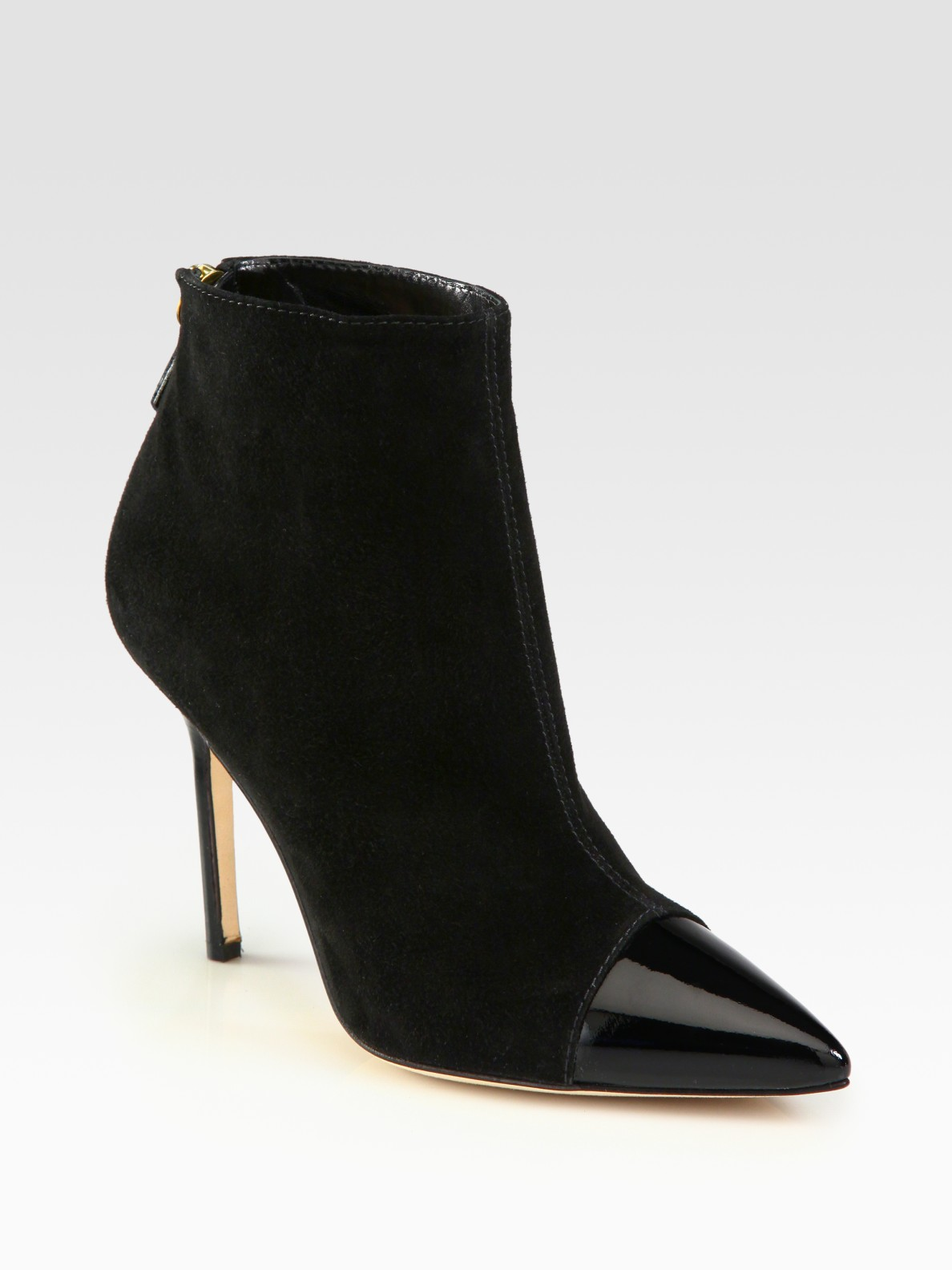 Manolo Blahnik Suede and Patent Leather Toe Cap Ankle ...