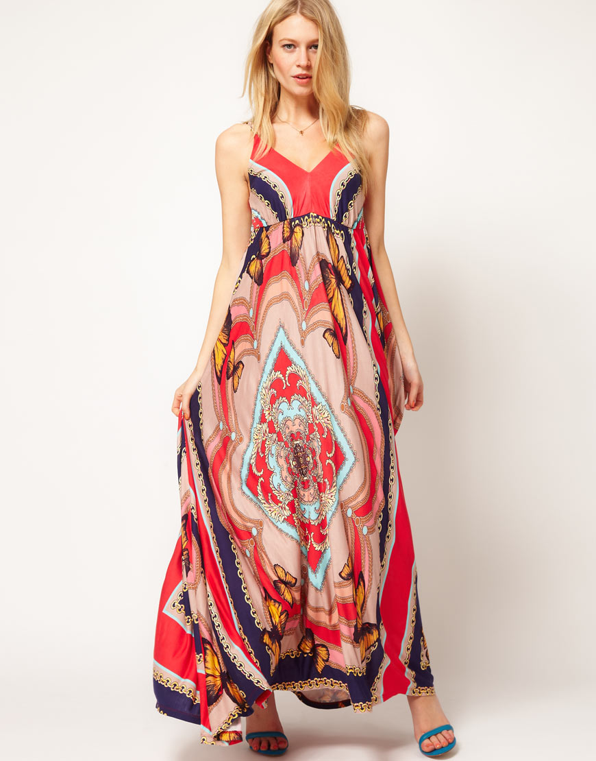 Oasis Oasis Butterfly Print Maxi Dress | Lyst