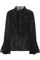 Oscar de la Renta Ruffled Lace Top
