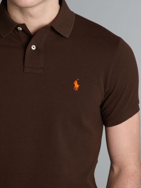 Polo Ralph Lauren Slim Fit Mesh Polo Shirt In Brown For