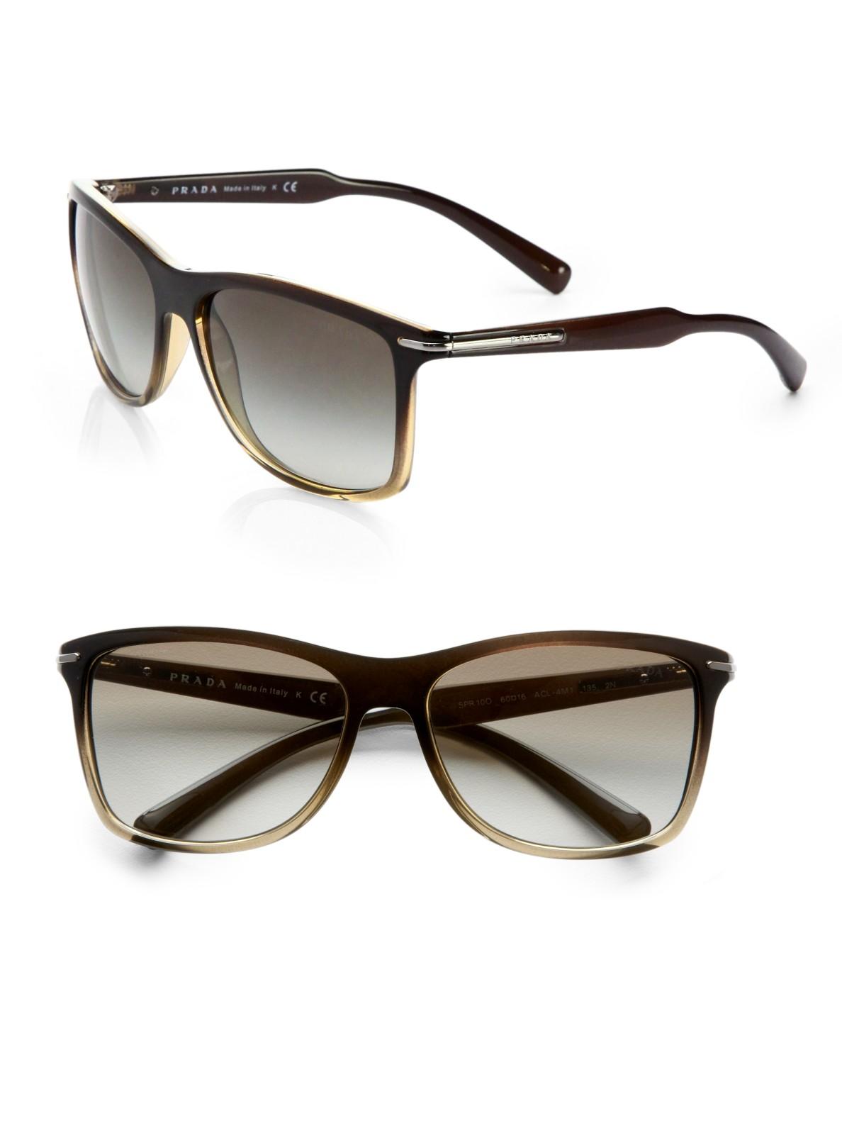 prada arrow wayfarer sunglasses in green for lyst