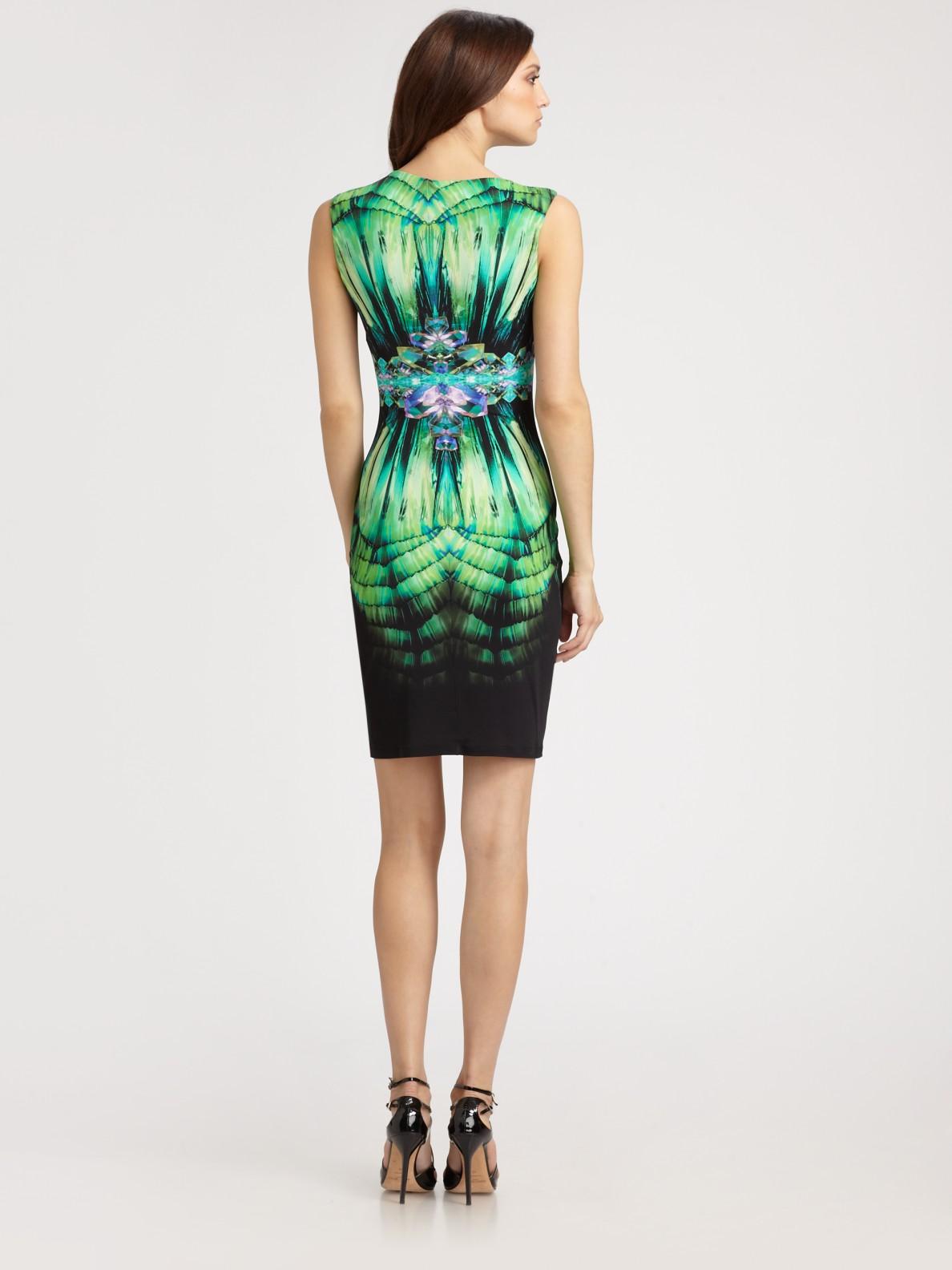 Lyst Roberto Cavalli Printed Dress In Green