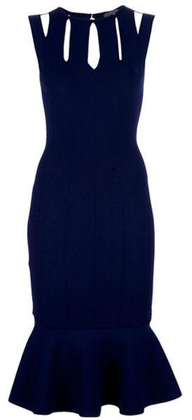 Alexander Mcqueen Frilled Hem Dress in Blue (indigo)