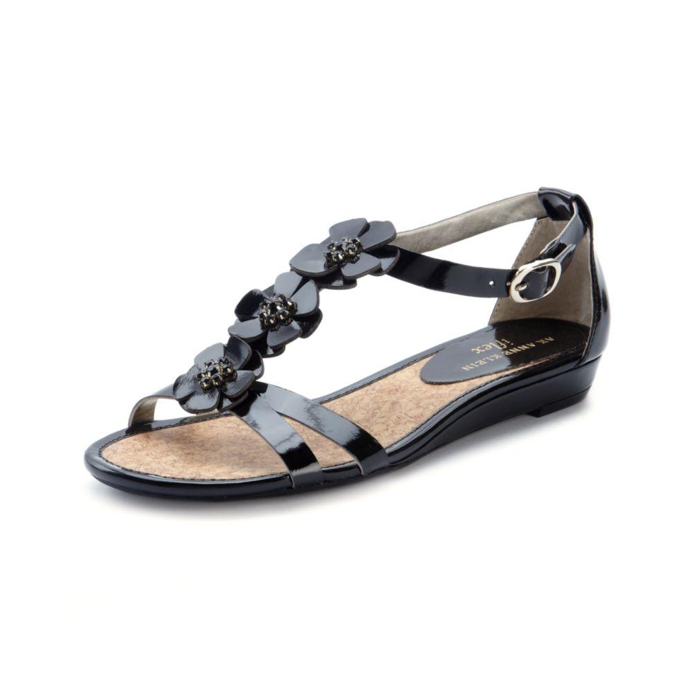 d01ecf8da0ba Anne Klein Arianna Wedge Sandals in Black