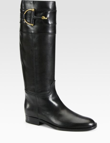 Gucci Class Tall Leather Horsebit Boots in Black - Lyst