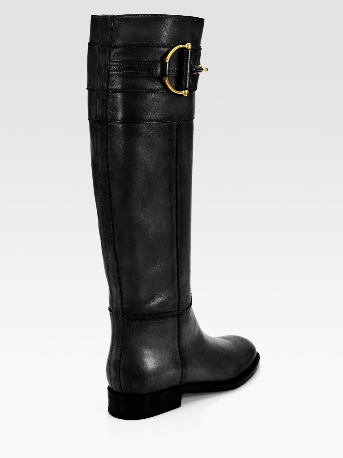 Gucci Class Tall Leather Horsebit Boots In Black Lyst