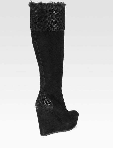 gucci courteney suede and fur wedge boots in black lyst