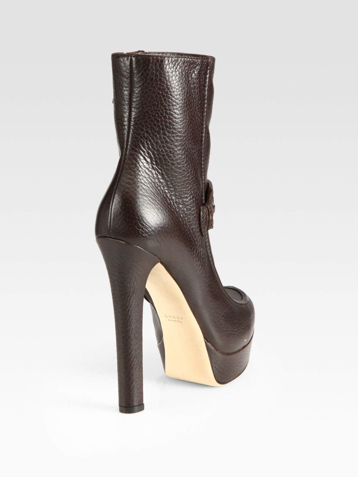 a5baf9071d65 Lyst - Gucci Athina Platform Leather Ankle Boots in Brown