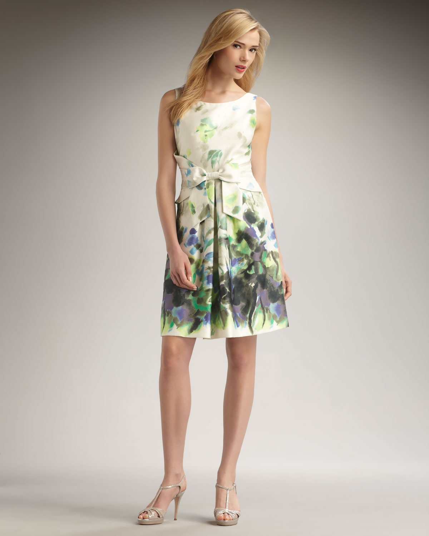 a892b8c09 Lyst - Kate Spade Jillian Printed Bow Dress in Natural