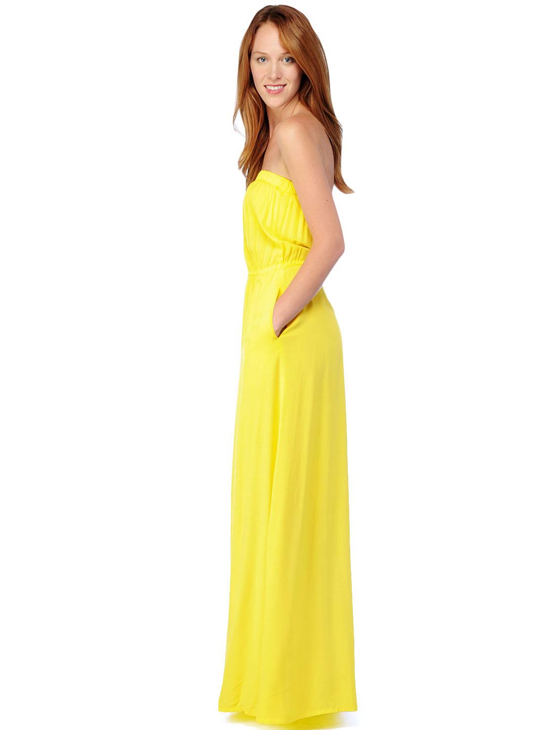 Splendid Strapless Maxi Dress in Yellow
