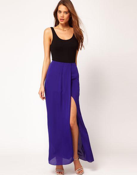 asos asos maxi skirt in high low hem in blue lyst