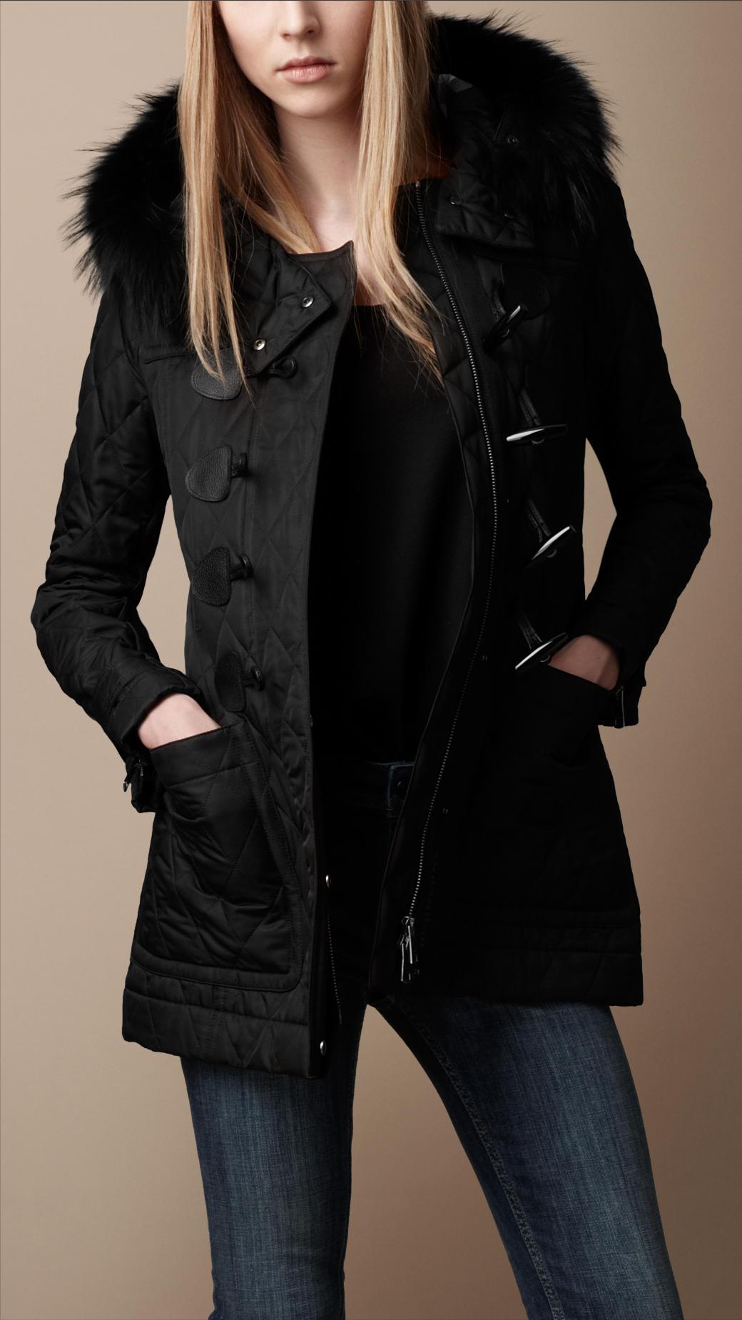 Fur Trim Quilted Duffle Coat