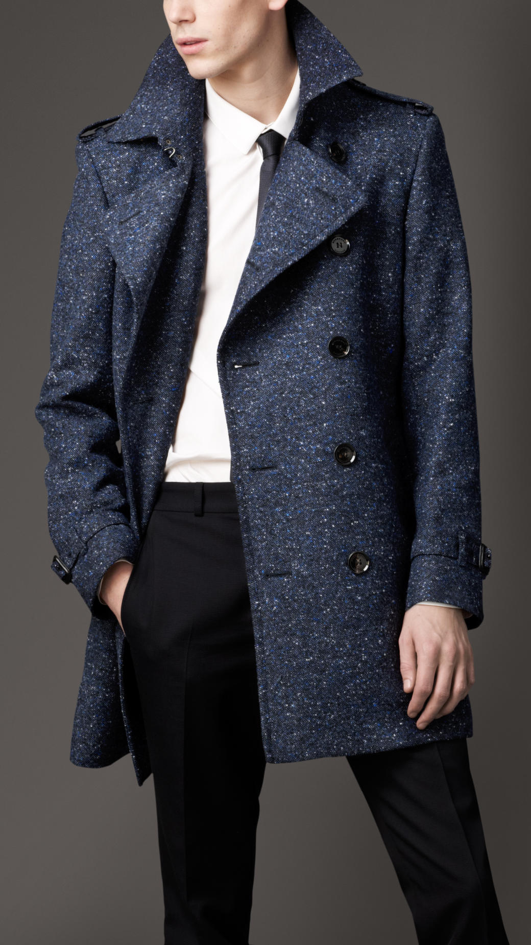 Burberry Midlength Virgin Wool Blend Trench Coat in Blue ...