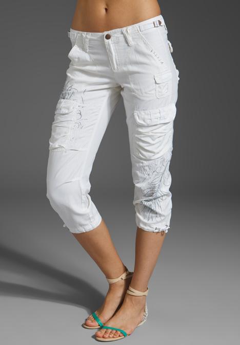white cargo capri pants - Pi Pants