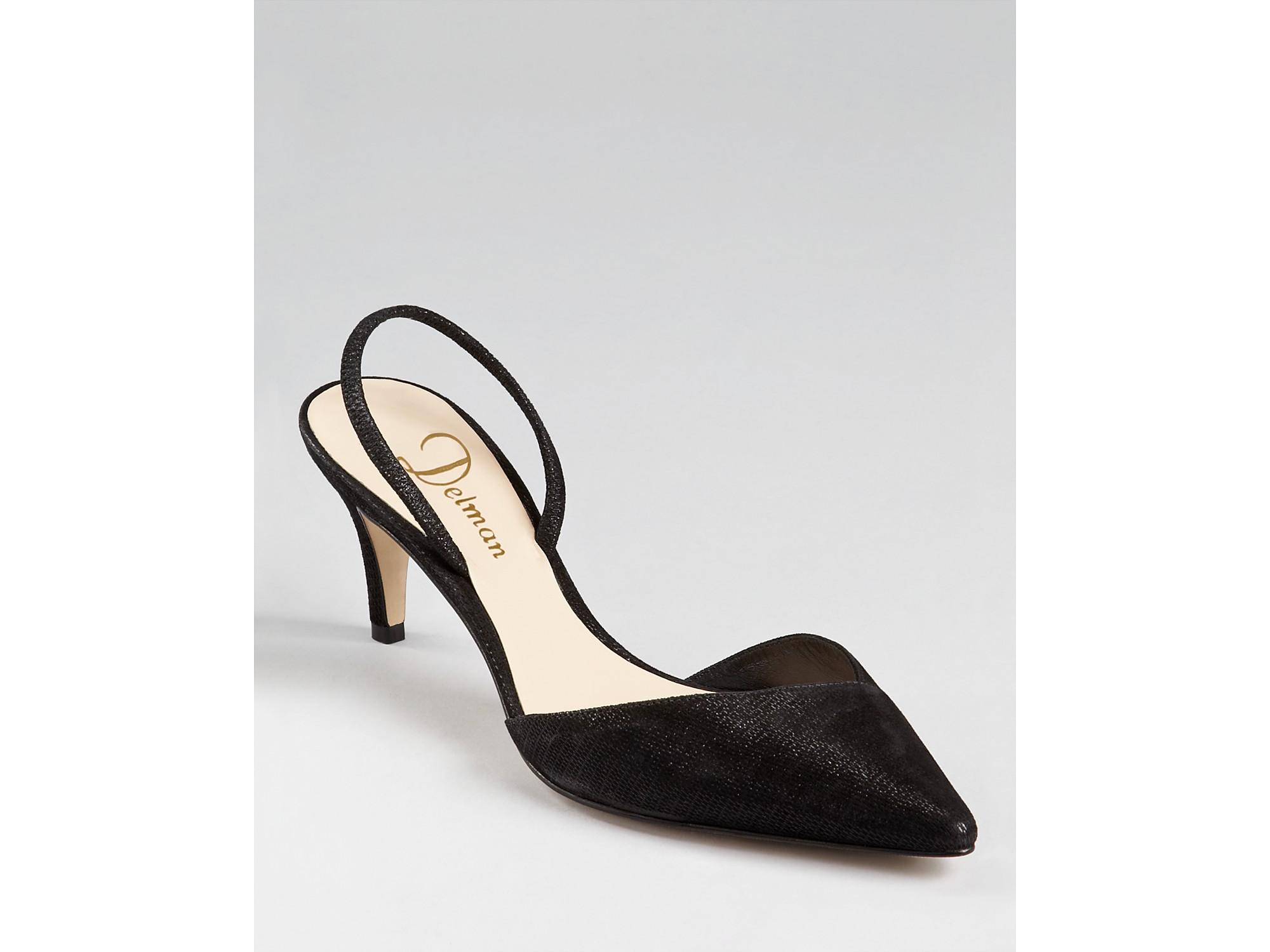7689068f51e Lyst - Delman Pumps Laci Sling back Kitten Heel in Black