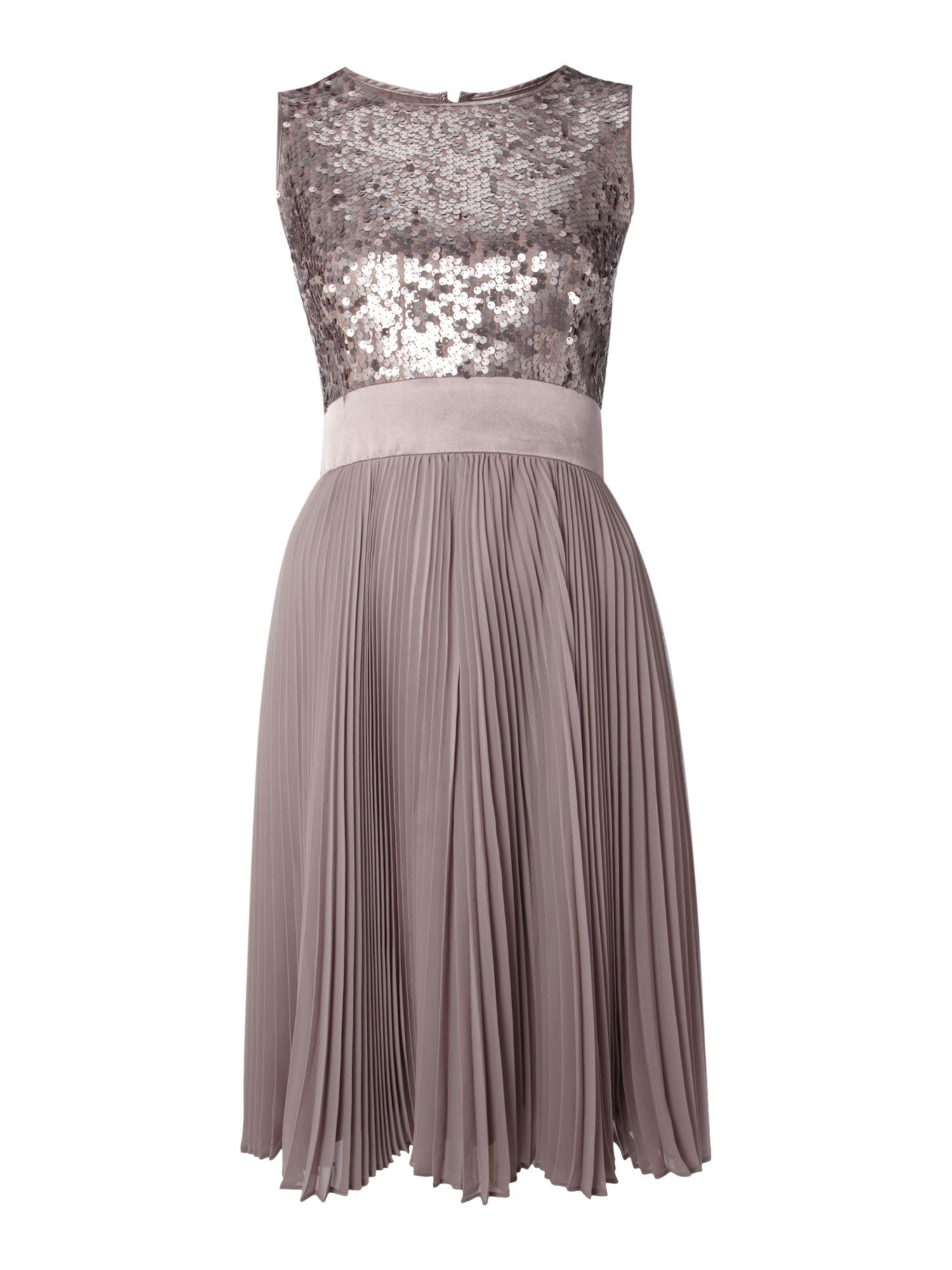 eliza j sequin top dress with pleated skirt in beige