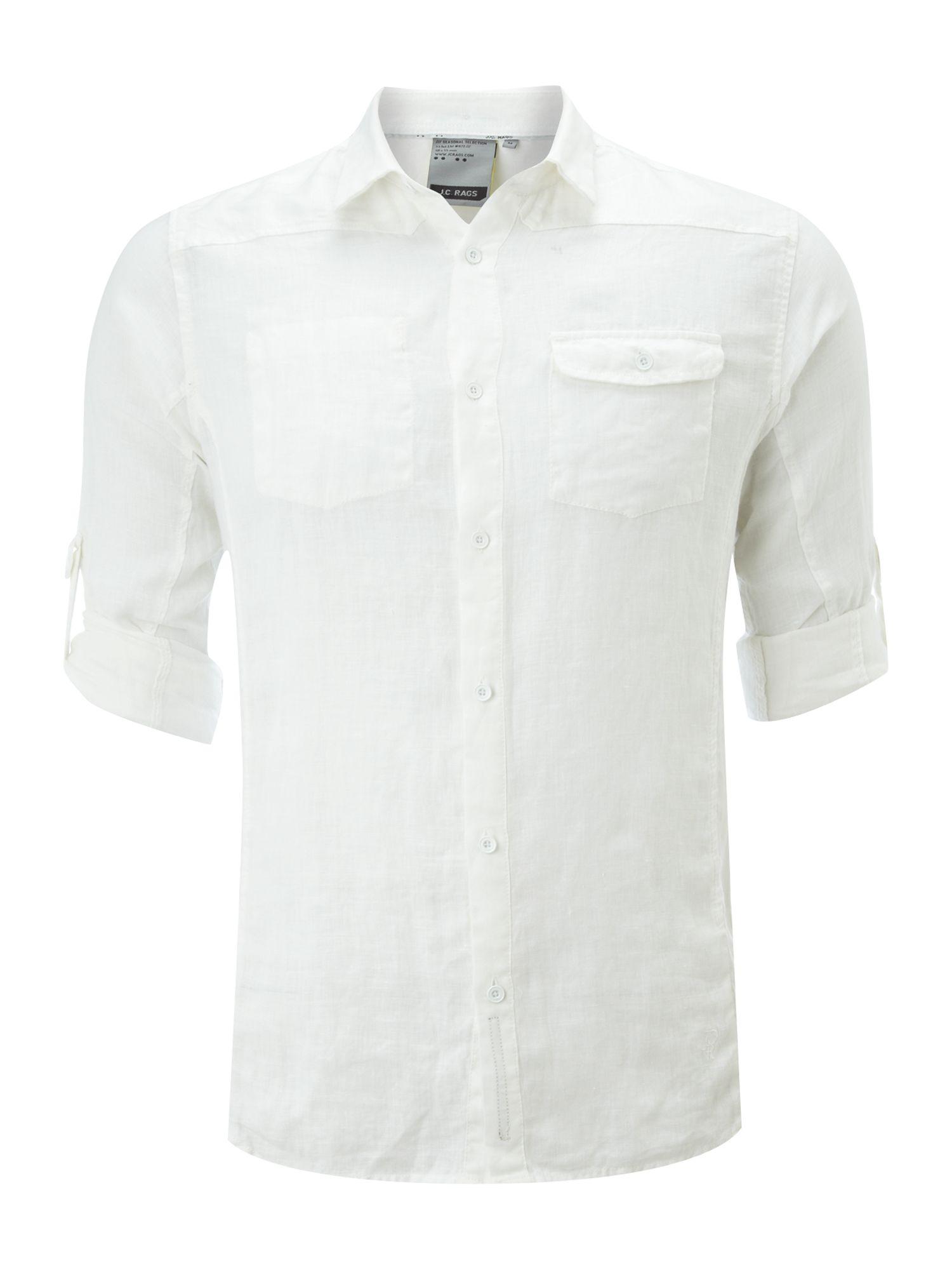 J c rags long sleeve linen shirt in white for men lyst for Linen long sleeve shirt