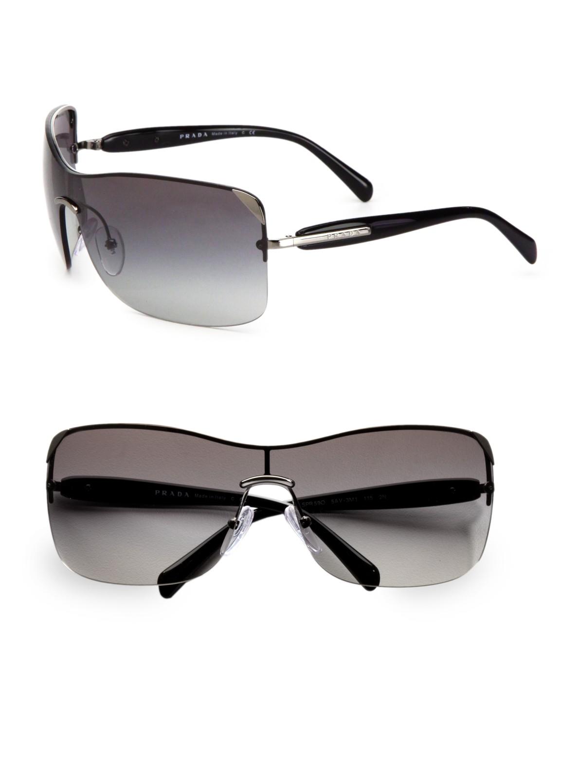 Maui Jim Warranty >> Prada Rectangular Rimless Shield Sunglasses in Grey (Gray ...