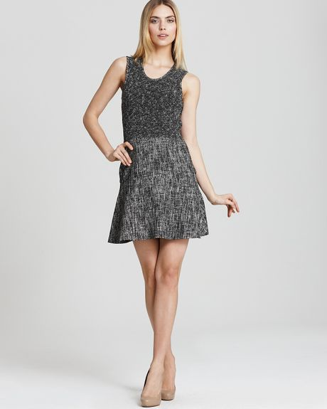 Theory Sleeveless Dress Cozma Aglow Tweed in Black (black white) - Lyst