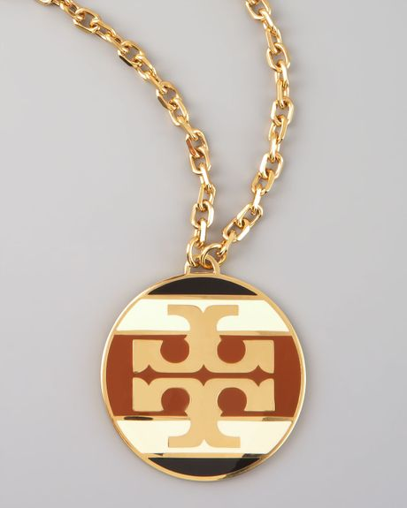 Tory Burch Striped Logo Pendant Necklace  in Brown (multi colors) - Lyst