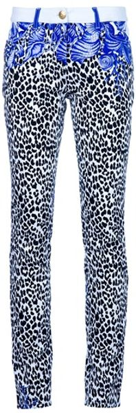 Versace Patterned Skinny Jean in Animal (white) - Lyst