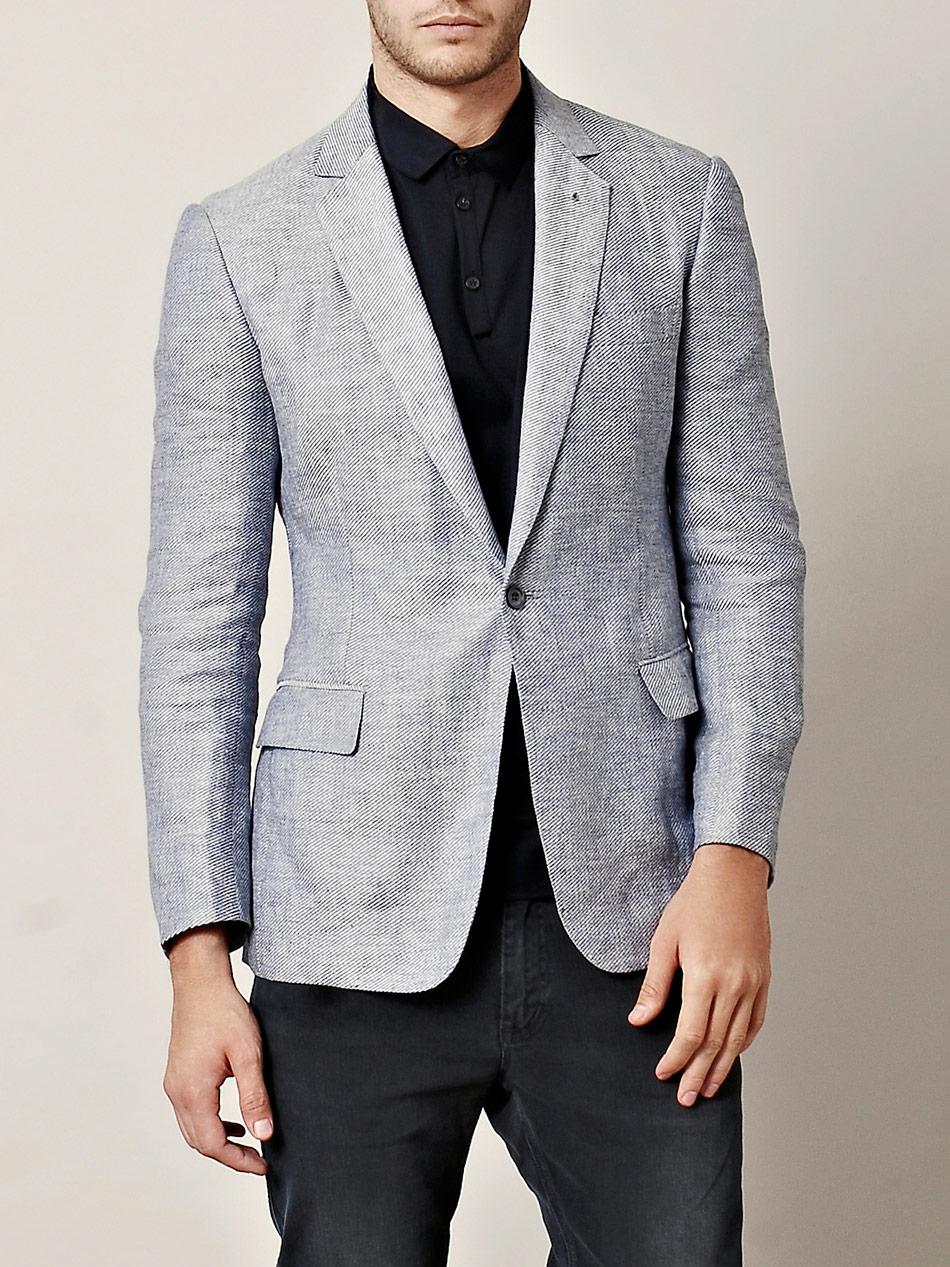 rake linen jacket in blue for navy lyst