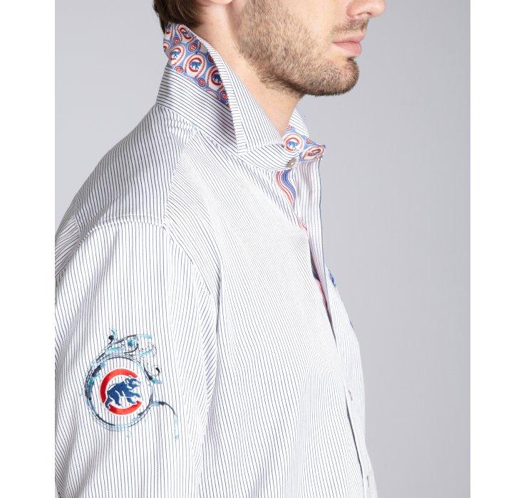 Robert Graham Blue Pinstripe Cotton Chicago Cubs Button