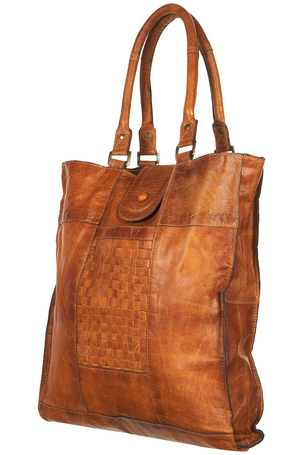lyst topshop leather woven panel tote bag in brown. Black Bedroom Furniture Sets. Home Design Ideas