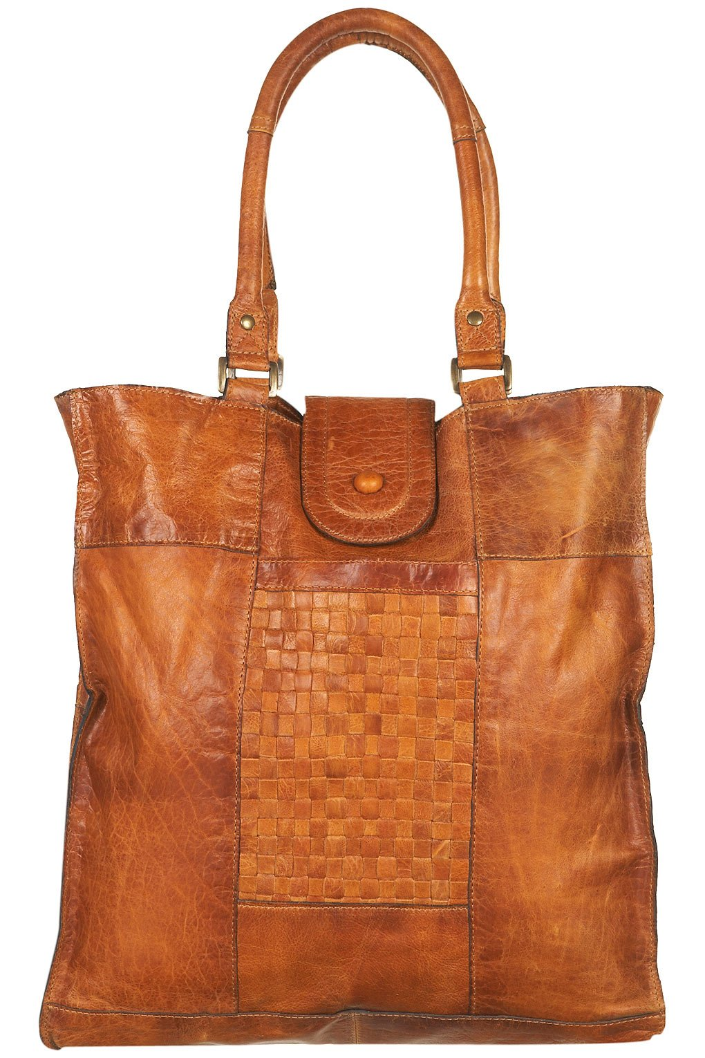 topshop leather woven panel tote bag in brown lyst. Black Bedroom Furniture Sets. Home Design Ideas