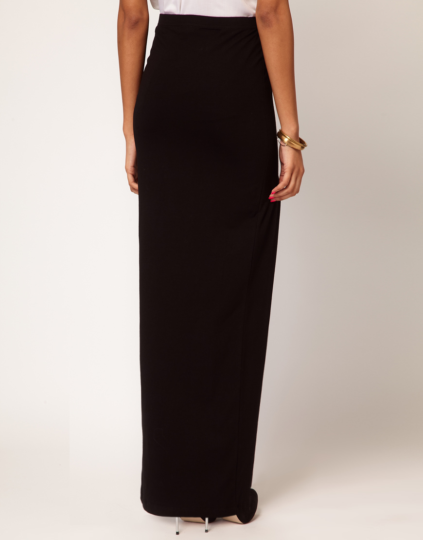 asos collection asos maxi skirt with thigh high split in