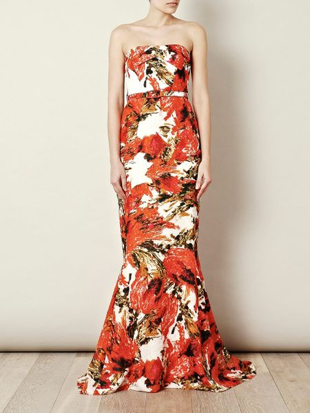 Erdem Rhiannon Strapless Dress in Orange (red) - Lyst