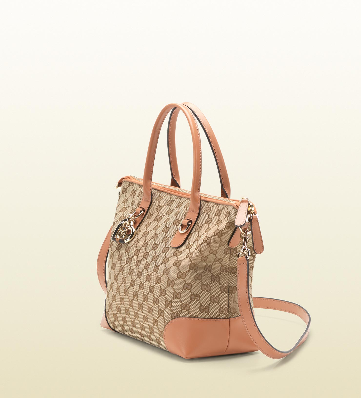d5b467ac562 Gucci Heart Bit Charm Original Gg Canvas Top Handle Bag in Natural ...