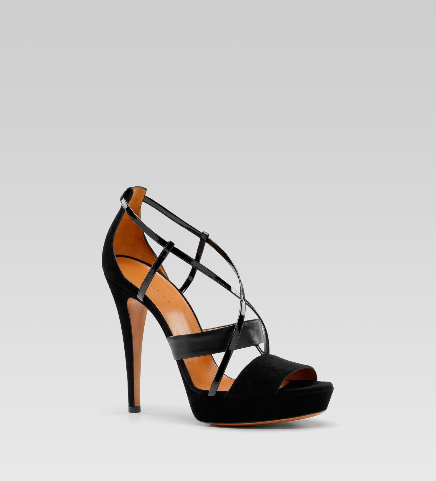 gucci betty high heel platform sandal in black lyst. Black Bedroom Furniture Sets. Home Design Ideas